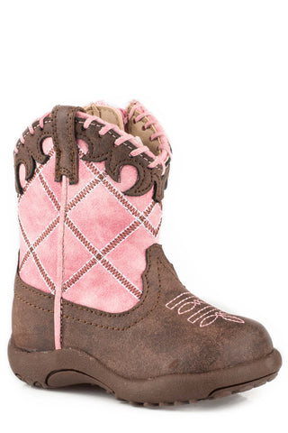 Roper Diamond Girls Infants Pink Faux Leather Lacy Cowboy Boots