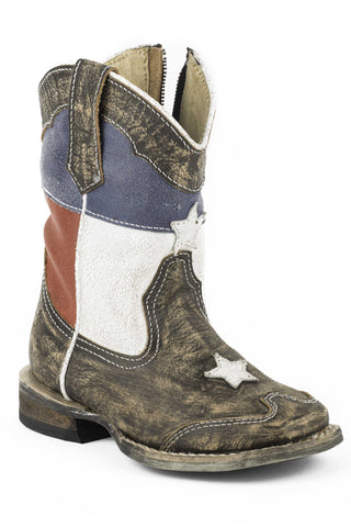 Roper Boots Infant Brown Leather 5in Flag Texas Star Cowboy