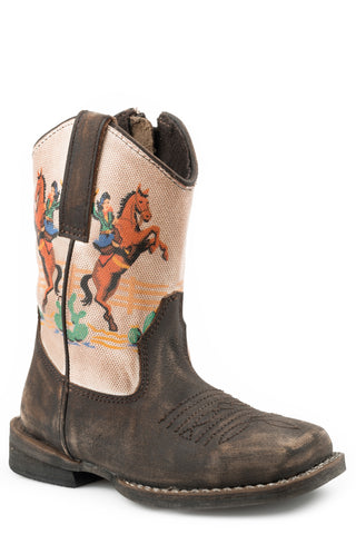 Roper Boys Toddlers Rub Off Brown Leather Vintage Rodeo Cowboy Boots