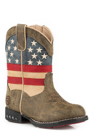 Roper Usa Flag Boys Toddlers Brown Faux Leather Patriot Cowboy Boots