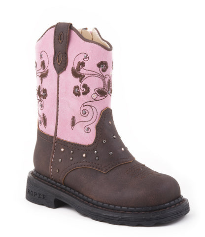 Roper Infant Girls Western Lighted Brown Dazzle Lights Faux Leather Pink Cowboy
