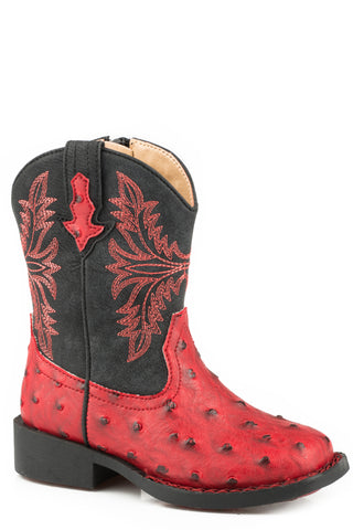Roper Ostrich Toddler Boys Red Faux Leather Cowboy Cool Cowboy Boots