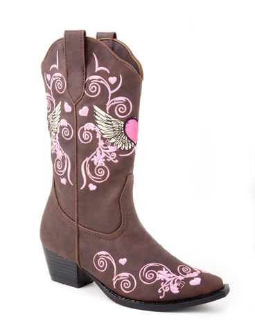 Roper Infants Girls Cowboy Boots Brown Faux Leather Round Toe Winged Heart
