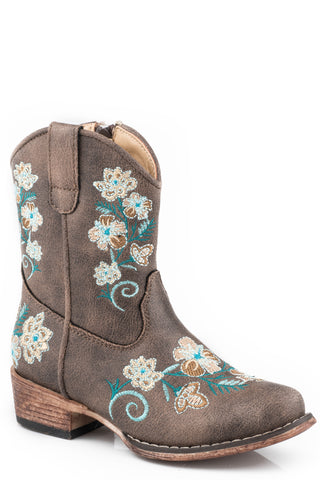 Roper Toddler Girls Brown Faux Leather Juliet Floral Cowboy Boots
