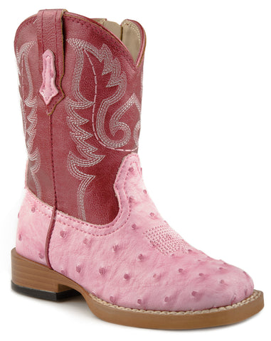Roper Baby Girls Infant Square Toe Pink Faux Ostrich Print Leather Cowboy Boots