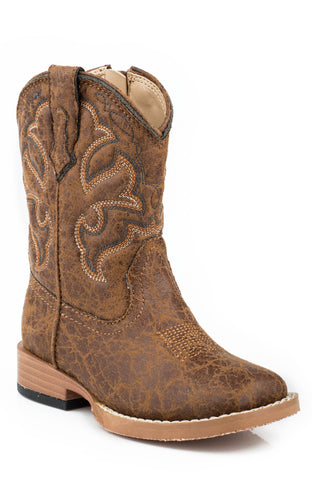 Roper Boots Infant Tan Faux Leather Western Stitch Boys Cowboy