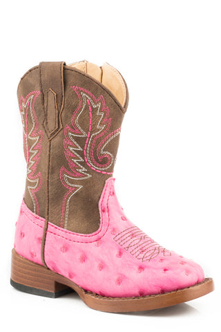 Roper Toddlers Girls Pink//Beige Faux Leather Askook Cowboy Boots