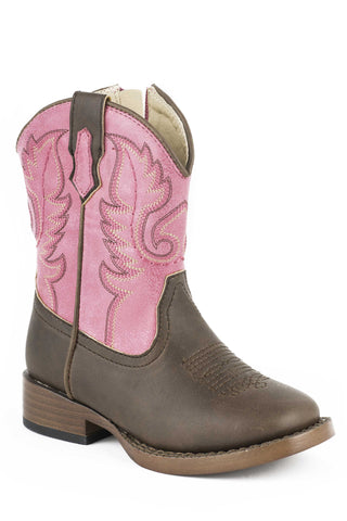 Roper Boots Infant Pink Faux Leather Girls Texsis Cowboy