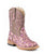 Roper Infants Girls Cowboy Boots Pink Faux Leather Sq Toe Glitter Leopard