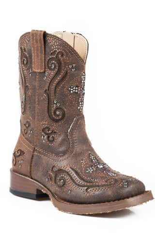 Roper Boots Infant Brown Faux Leather Cross Girls Faith Cowboy