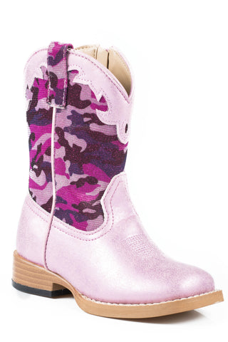Roper Boots Infant Pink Faux Leather Girls Glitter Camo