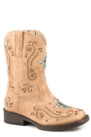 Roper Crystals Girls Toddlers Tan Faux Leather Faith Cowboy Boots