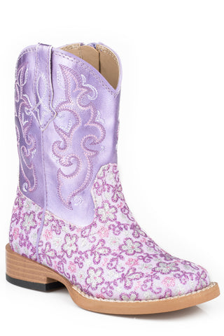 Roper Lavender Infant Purple Faux Leather Girls Floral Glitter Boots