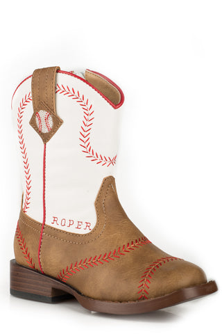 Roper Baseball Toddlers Boys Tan Faux Leather Cowboy Boots