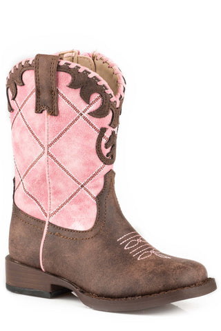 Roper Horsehead Girls Toddlers Pink Faux Leather Lacy Cowboy Boots