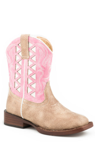 Roper Toddlers Girls Pink/Beige Faux Leather Askook Cowboy Boots