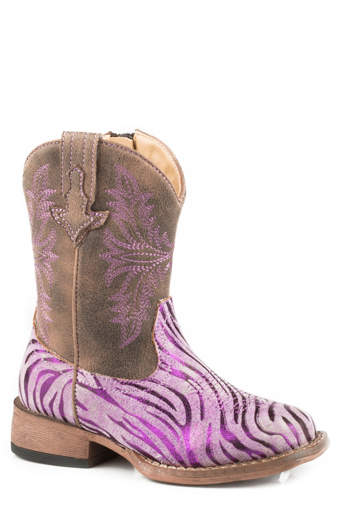 hot-selling cheap new product top brands Roper Toddler Girls Purple Faux Leather Metallic Zebra Cowboy Boots