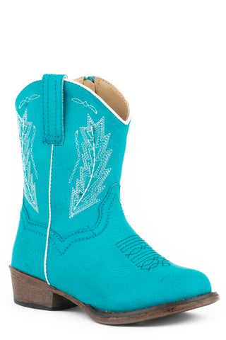 Roper Toddlers Girls Turquoise Faux Leather Taylor Cowboy Boots