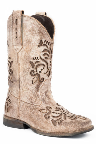 Roper Belle Kids Girls Tan Leather Cowboy Boots