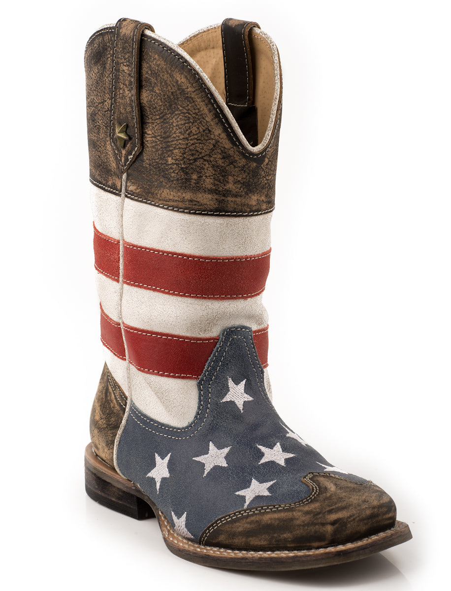 Roper Kids Boys Cowboy Boots Blue Sq Toe American USA Flag Stars Leather