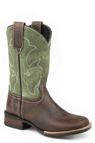 Roper Boys Kids Brown/Green Leather Monterey Cowboy Boots