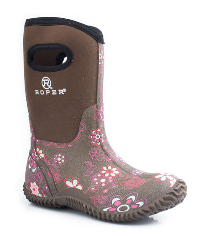 Roper Kids Girls Rugged 10in Brown Neoprene Waterproof Floral Barnyard Boots