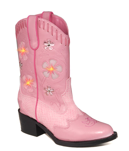 Roper Kids Girls Western Lighted Pink Faux Snake Leather Floral Cowboy Boots