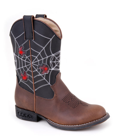 Roper Kids Boys Western Lighted Brown Faux Spider Web Leather Cowboy Boots