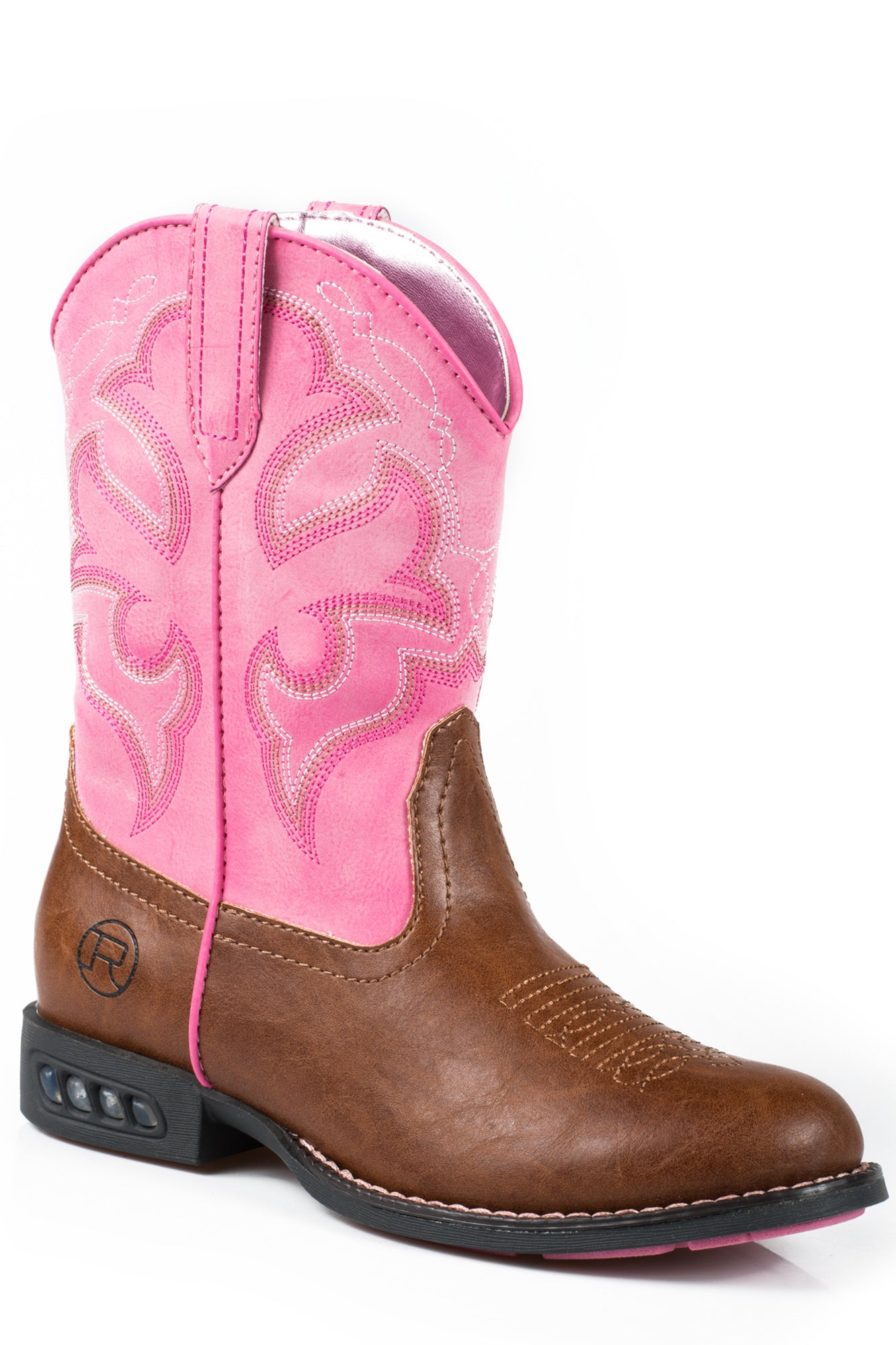 00cd934bd6e Roper Lightning Kids Tan Faux Leather Girls Light Up Western Boots