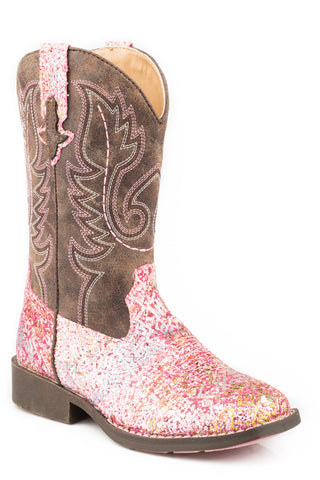 Roper Little Kids Girls Pink Faux Leather Glitter Aztec Cowboy Boots