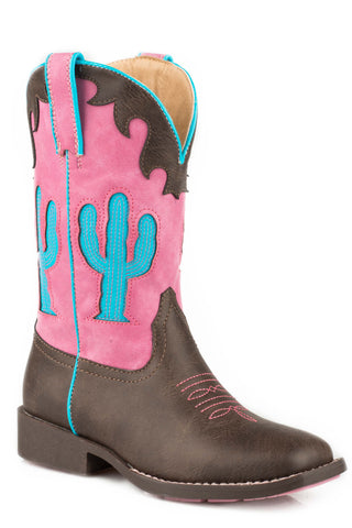 Roper Cactus Kids Girls Brown Faux Leather Cowboy Boots