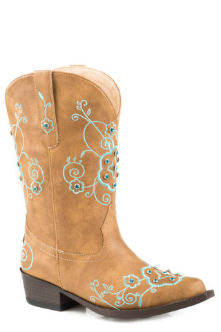 Roper Girls Kids Tan Faux Leather Flower Sparkles Cowboy Boots