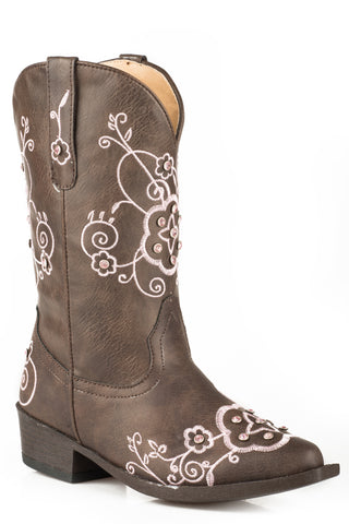 Roper Flower Sparkles Kids Girls Brown Faux Leather Cowboy Boots