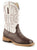 Roper Kids Boys Square Toe Brown Faux Ostrich Leather Comfort Cowboy Boots