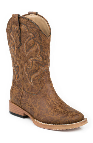 Roper Boots Kids Tan Faux Leather Western Stitch Boys Cowboy