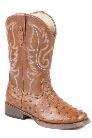 Roper Boots Kids Tan Faux Leather Square Toe Ostrich Bumps Boys Cowboy