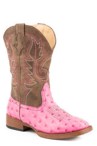 Roper Annabelle Kids Pink Faux Leather Ostrich Western Boots