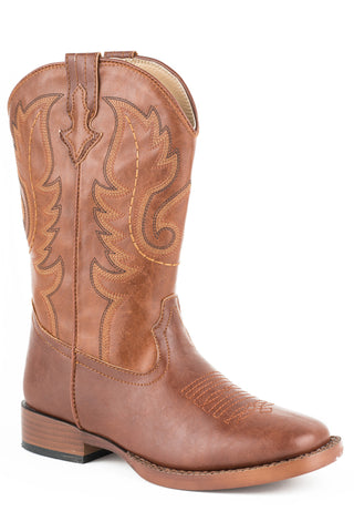 Roper Boots Kids Brown Faux Leather Square Toe Boys Texson Cowboy