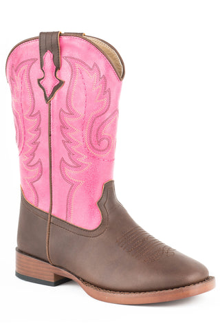 Roper Boots Kids Pink Faux Leather Square Toe Girls Texsis Cowboy