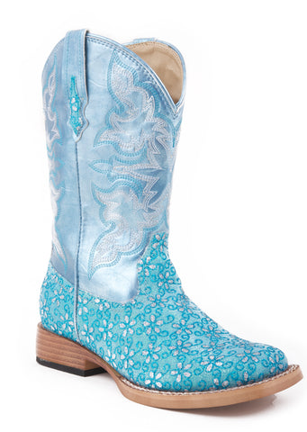 Roper Kids Girls Square Toe Green Floral Glitter Faux Leather Shaft Cowboy Boots