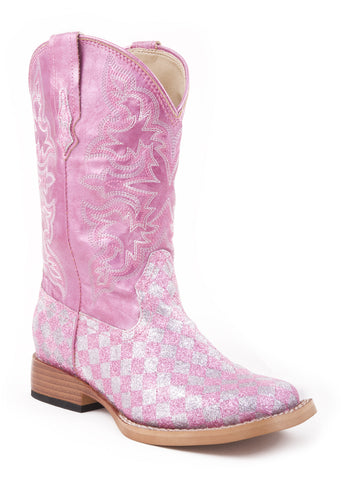 Roper Kids Girls Square Toe Pink Glitter Faux Leather Western Cowboy Boots