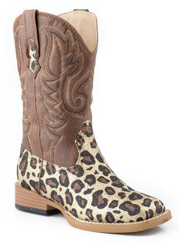 Roper Kids Girls Sq Toe Fancy Brown Glitter Leopard Faux Leather Cowboy Boots