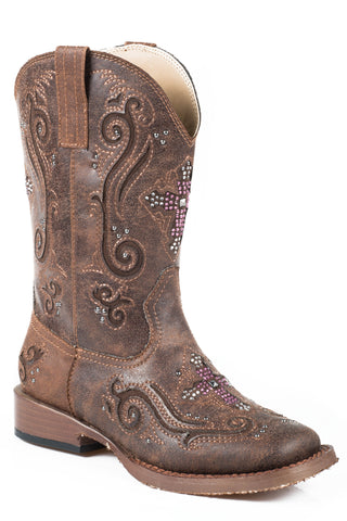 Roper Boots Kids Brown Faux Leather Crystal Cross Girls Faith Cowboy