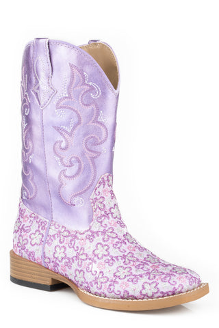Roper Lavender Kids Purple Faux Leather Western Floral Glitter Boots