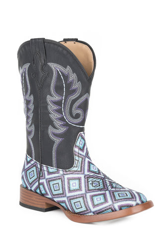 Roper Glitter Diamonds Kids Girls Black Faux Leather Cowboy Boots