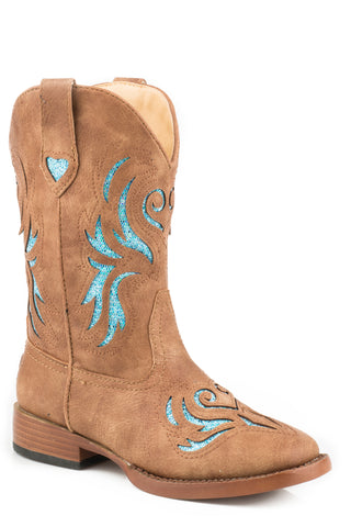Roper Glitter Breeze Kids Tan Faux Leather Western Turquoise Boots