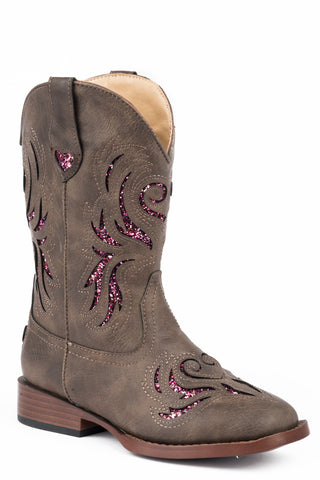 Roper Girls Kids Brown Faux Leather Glitter Breeze Cowboy Boots