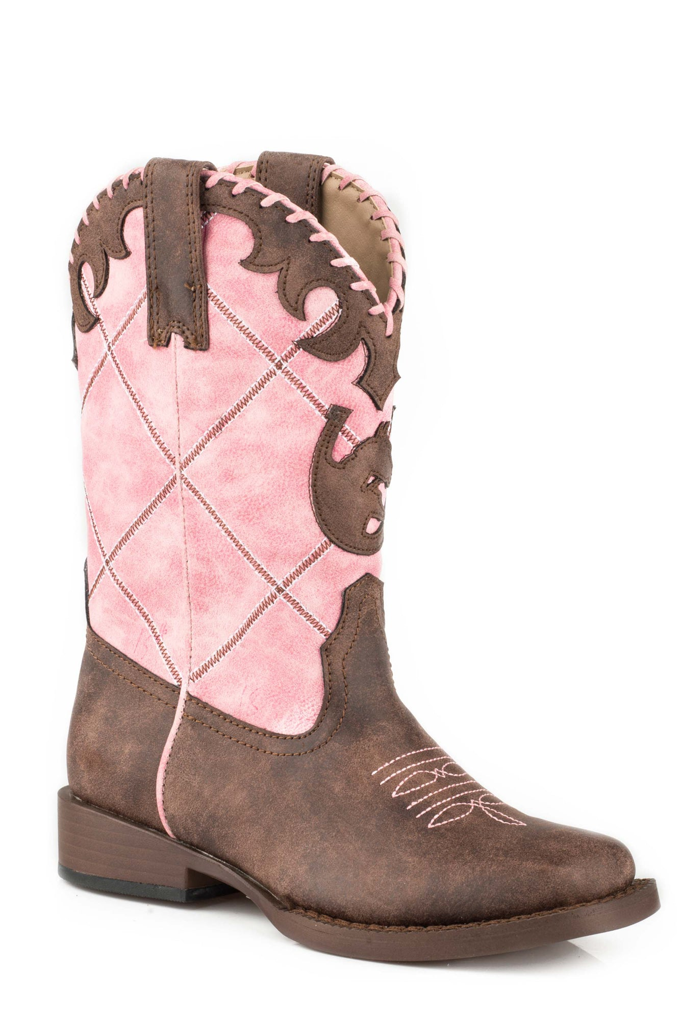 404ef490c54 Roper Diamond Girls Kids Pink/Brown Faux Leather Lacy Cowboy Boots