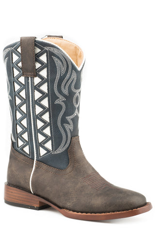 Roper Kids Boys Brown/Navy Faux Leather Askook Cowboy Boots