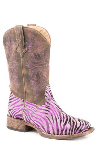 Roper Kids Girls Purple Faux Leather Metallic Zebra Cowboy Boots